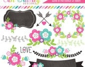 Floral Elements Clipart Graphics Laurel Wreath Banner Flowers Labels & More Great For Wedding and Save the Date Designs