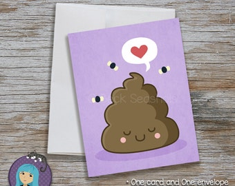 Cute Poop Purple Note Card - Kawaii Greeting Card