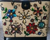 Beautiful, Vintage, Enid Collins, Bucket Style Handbag, Flower Garden