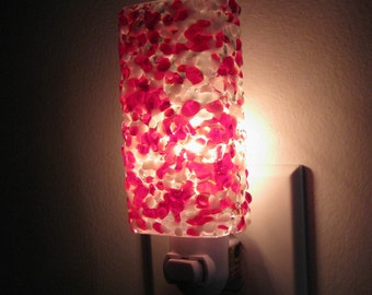 Night Light - Red and White Kitchen or Bathroom Night Light, Handmade Home Decor, Lighting, Housewarming, Unique Gift Idea