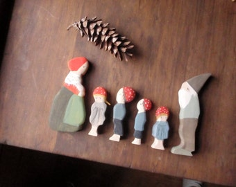 children of the forest set : waldorf dolls (elsa beskow) / waldorf nature table/ doll miniature