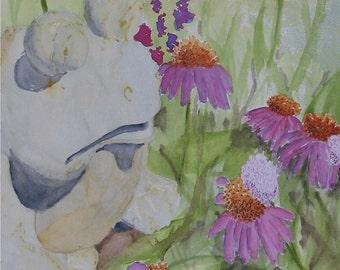 Watercolor 11x14, Ceramic Garden Frog, 11x14 , Nan Henke original painting