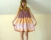 30% off ... 90s Sleeveless Cotton Gauze Embroidered Tie Dye V Neck Mini Tent Boho Dress - S M