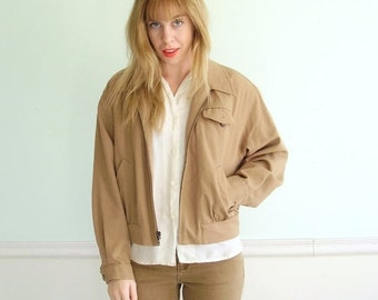 extra 30% off SALE ... Cropped Camel Wool Sports Jacket Coat - Vintage 80s 90s - MEDIUM M Large L