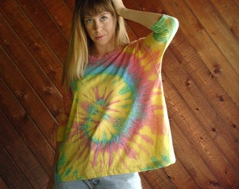 Bright Rainbow Tie Dye 90s Vintage Batwing Sleeve Swing T Shirt - XS SMALL S