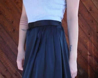 extra 25% off SALE ... Black Silky Pleated Mid Length Skirt High Waist - Vintage 80s - MEDIUM M