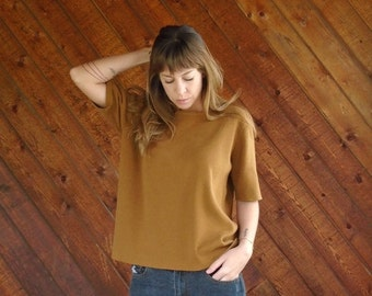 30% Memorial Day Sale ... Putty Brown Oversized Knit Sweater Short Sleeves- Vintage 90s - MEDIUM