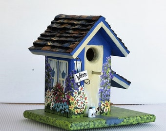 Blue and Cream Birdhouse , Handmade , Hand Painted , with a Welcome Sign , Bench , Birdhouse and a Clean Out