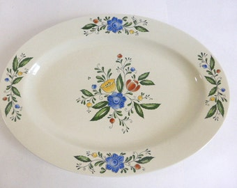 Vintage Asta Large Floral Platter 1982 Made In Japan Ceramic Platter Oven To Table Serving Platter 16 1/2 Inches x 12 inches