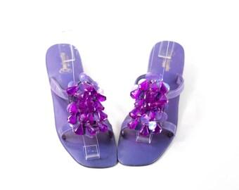 Vintage 1960s Flats Purple Party Shoes Jewel Beaded Heels Size 9