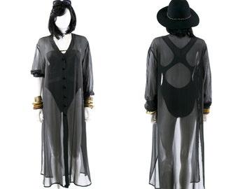 Silk Dress Beach Cover Up Swimsuit Sundress Striped Black Sheer Shirt Dress