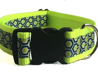 "Honeycomb 1.5"" Large Dog Collar, Martingale or Leash"