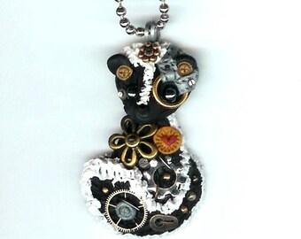 Steampunk Skunk Necklace Polymer Clay Jewelry