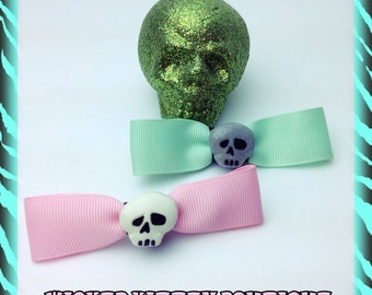 Skull Hair Bows Pastel Pink and Pastel Green with Gray Glitter White Skull Rockabilly Psychobilly Punk Horror Gothic Bow Dia De Los Muertos
