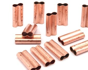 12 Double Raw Copper Tubes  (20x9x4.50mm)