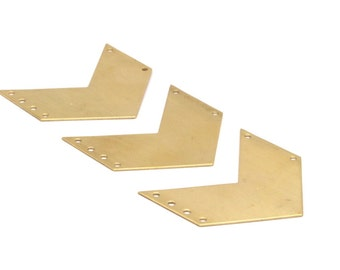 Brass Chevron Charm, 4 Raw Brass Chevrons with 6 Holes (50x20x0.80mm) A0882--N644