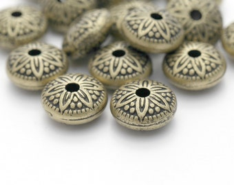 Antique Bronze Acrylic Ornate Carved Etched Saucer Beads 16mm (16)