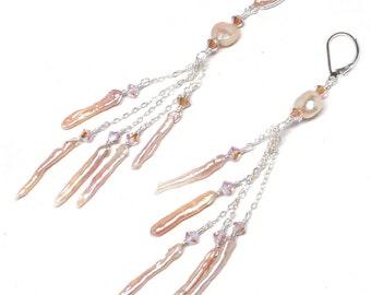 peach mauve freshwater pearl stick  earrings 5 chain dangles