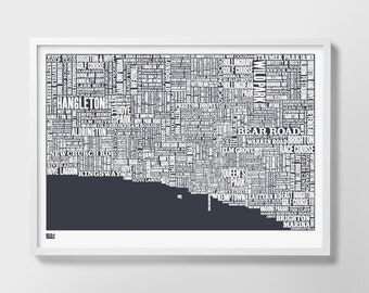 Brighton, Brighton Type Map, Brighton Word Map, Brighton Font Map, Brighton Text Map, Brighton Gift, Brighton Artwork, Brighton Screen Print