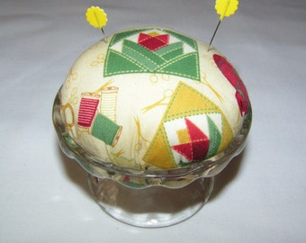 OOAK Pin Cushion in Sherbet Glass Dish - Christmas, Birthday, Mother's Day