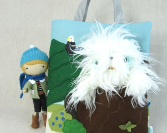 Adventure Bag with Pocket Studio Doll Boy and Squatchie - Boy, Yetti, Outdoor, Doll, Travel, Tote Made to order