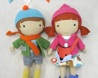 "Handcrafted STUDIO DOLL 15"" - Girl in the Hooded Jacket with Fox Purse. Handmade, Doll, Girl, Toy, Plush, Children, Gift"
