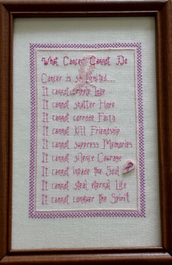 What Cancer Cannot Do  - counted cross stitch graph - downloadable chart
