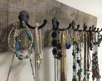 rustic jewelry holder display rack necklace organizer jewelry bracelets barn wood scarf tie towel coat reclaim wood closet foyer mudroom OBX
