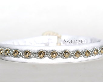 SwedArt B21-G Snowball Gold Lapland Leather Bracelet 14K Gold-Filled Beads and Antler Button White SMALL