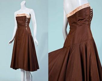 50s designer Perullo David Hart brown strapless gown | XS/S