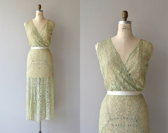 Limoncello lace dress | vintage 1930s dress | lace 30s dress