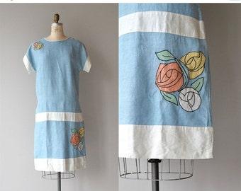 25% OFF.... Glasgow Rose dress | vintage 1920s dress | cotton linen 20s dress