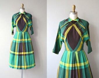 Compendium dress   vintage 1950s dress   plaid cotton 50s dress