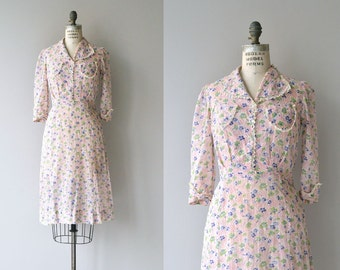 Country Bouquet dress | vintage 1930s dress | floral print 30s day dress