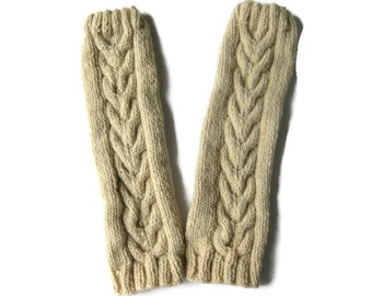 Cabled Leg Warmers, Knitted Boot Toppers,  Boot Socks, Horseshoe Cables, Ivory, 100 Per Cent Chunky Wool, Ready To Ship