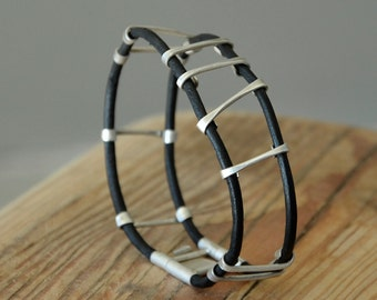 Sterling Silver ladder bracelet with black Leather, contemporary silver bars unique Modern organic design jewelry