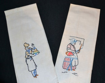 Vintage Kitschy His & Her Linen Towels