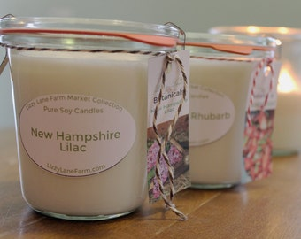 8 oz. Scented Candle | New Hampshire Lilac | Weck Jar Candle | Farm House Candle | Farmers Market Collection | Spring Summer Scented Candle
