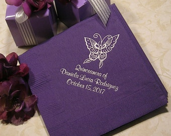 Quinceanera napkins Mis Quince Mis Quince Anos personalized napkins Set of 50 napkins
