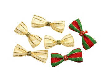 "Mixed Set of 6 Small Basic Ribbon Bows - Red/Green/Gold (0.75"" Wide x 1.75"" Long)"