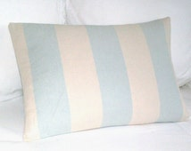 Duck Egg Stripe - Large Cushion / Throw Pillow Cover - John Lewis Malmo Stripe - Pastel Duck Egg and Cream - 24 x 16 - Reversible pillow