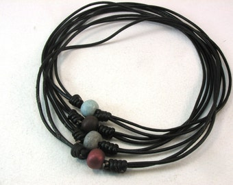 black leather choker necklaces with clay beads adjustable sliding knot necklaces beaded chokers 3995
