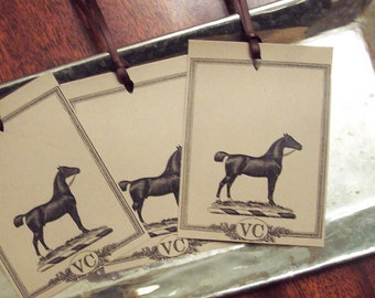 Equestrian Horse Personalized Brown Kraft Gift Tags Monogram Set 18 Kentucky Derby Horse Racing Equestrian Banged Tail Pony Stallion