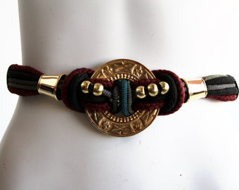Vtg 80s Pastel Twisted Rope Belt / Necklace • Gold Medallion & Gold Beads by The Leather Shop 1988