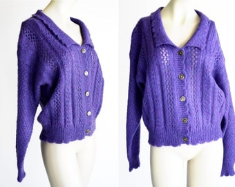 Pasta Brand Vintage Retro Purple Woman's size M/L Mohair Button Down Cardigan Collared Long Sleeve Sweater Top