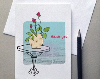 Thank You, Thank you Card, Vase, Flowers, Greeting Card, Rose, Sale