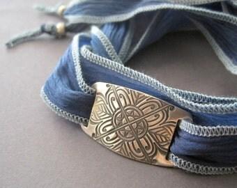 Fine Silver Leather Bracelet Flower Motif Handmade Leather Jewelry