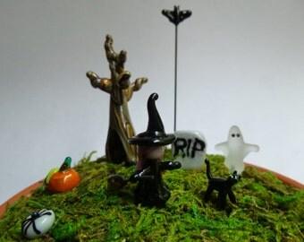 Fairy garden micro mini halloween set of glass fairy garden miniature firgurines MTO