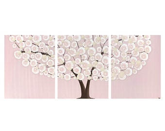 Painting for Nursery Baby Girl - Pink and Brown Tree Art on Canvas Triptych - Large 50x20