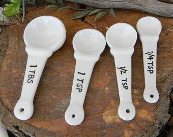 Nesting Ceramic Measuring Spoons  - 4 soft white  All handpainted  Glazed